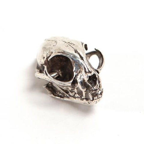 Silver Domestic Cat Animal Skull Pendant by Fire & Bone