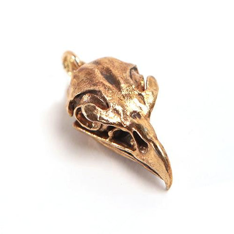 Bronze Golden Eagle Animal Skull Pendant by Fire & Bone