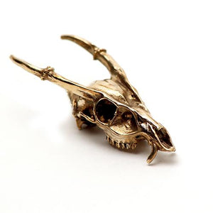 Bronze Muntjac Animal Skull Pendant by Fire & Bone