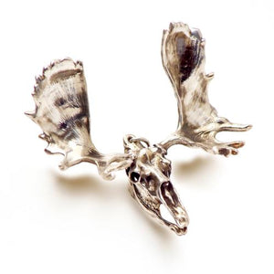 Silver Moose Animal Skull Pendant by Fire & Bone