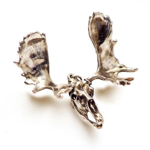 Bronze Moose Animal Skull Pendant by Fire & Bone