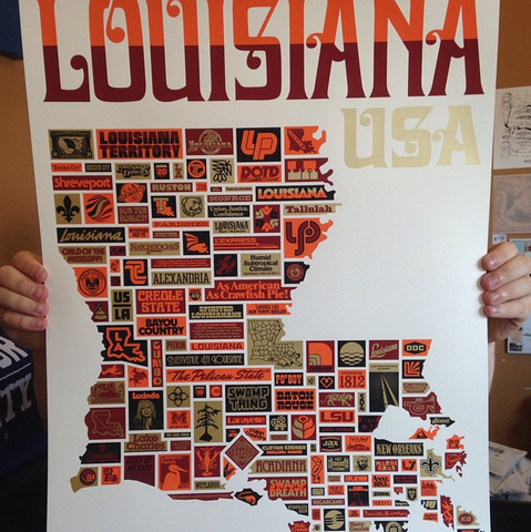 Dirty Coast Press Print Draplin Louisiana Print