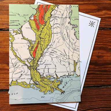 Fisk Louisiana Map Postcard - Dirty Coast Press