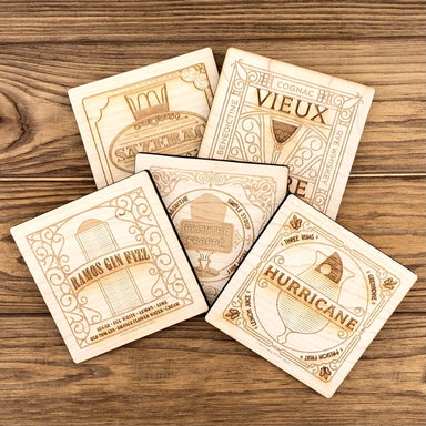 New Orleans Sets The Bar Wood Coasters - Dirty Coast Press