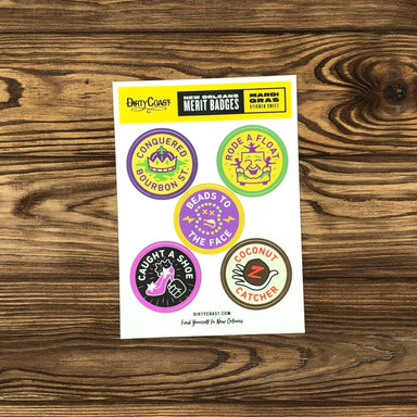 NOLA Merit Badges - Mardi Gras Sticker Sheet - Dirty Coast Press