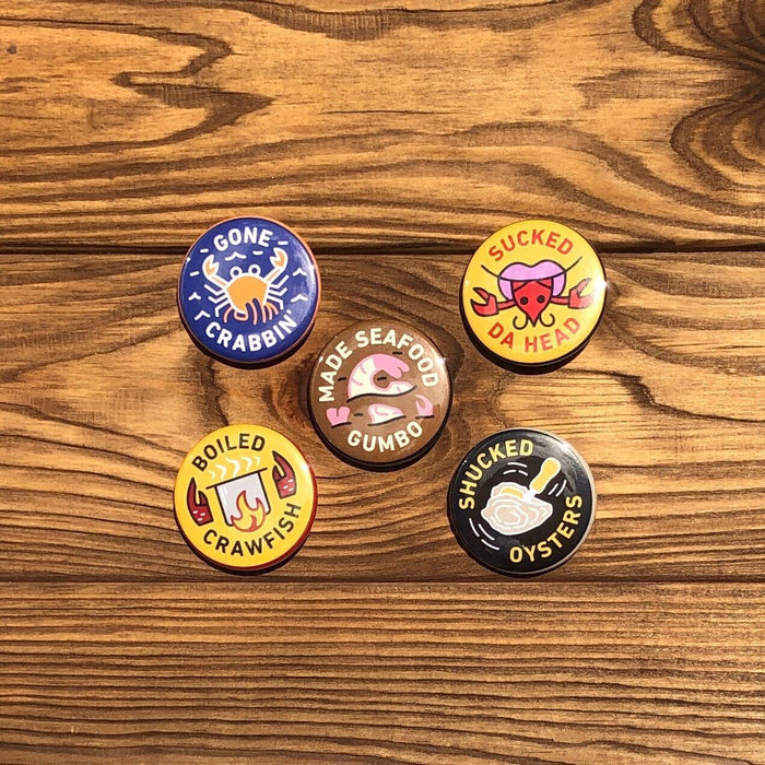 NOLA Merit Badges - Seafood Button Set - Dirty Coast Press