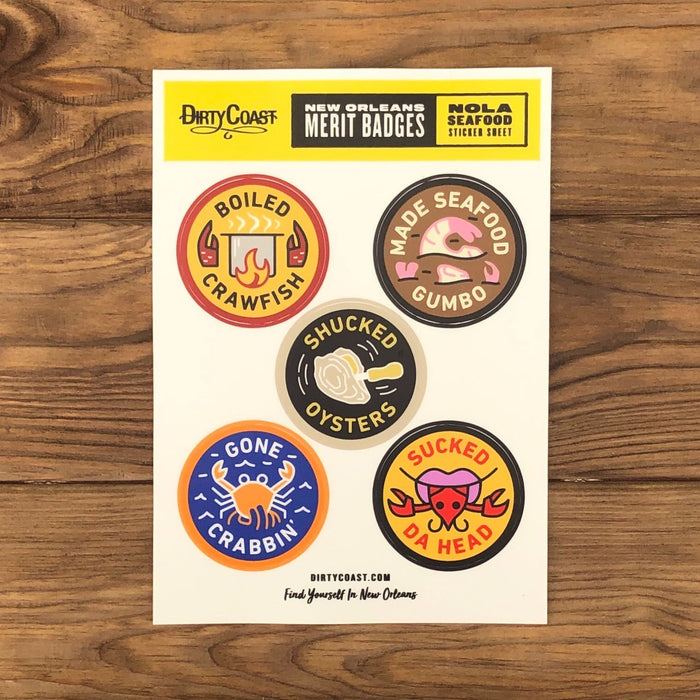 NOLA Merit Badges - Seafood Sticker Sheet - Dirty Coast Press