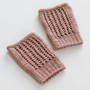Knitted Netting Fingerless Gloves + Hat