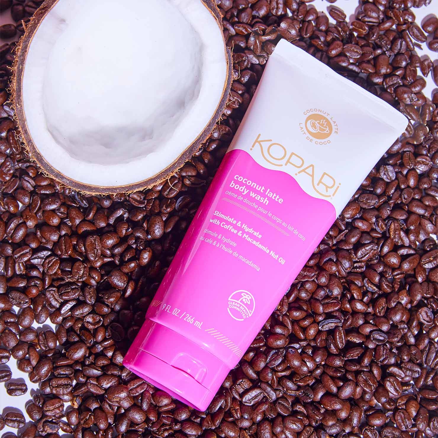 Coconut Latte Energizing Body Wash with Caffeine and Macadamia Seed Oil