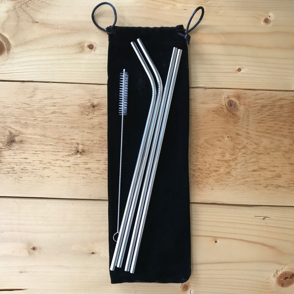 4 Pack Stainless Steel Straws + Cleaning Brush + Resuable Bag