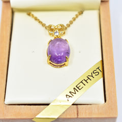 Amethyst necklace oval 2b安省紫水晶项链
