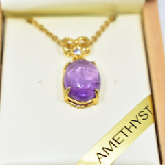 Amethyst oval necklace 2安省紫水晶项链