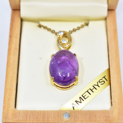 Amethyst oval necklace安省紫水晶项链