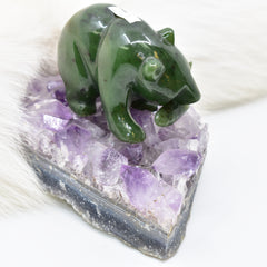 bear jade on amethyst 3 加拿大碧玉熊+安大略紫水晶底座
