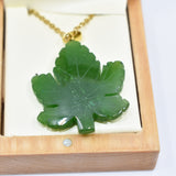 Jade maple leaf big pendent碧玉枫叶项坠(大)