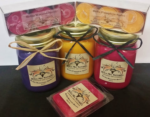 Mountain-Mulberry,Pumpkin-Spice & Harvest-Berry soy candles in pint mason jars,melts & tealights
