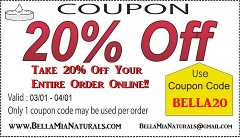 20% Off Discount Code for online shopping at Bella-Mia Naturals