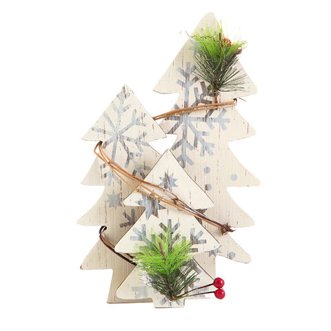 Tabletop Christmas Trees with Snowflakes: MDF - White - 7.5 x 11 x 2.4 inches