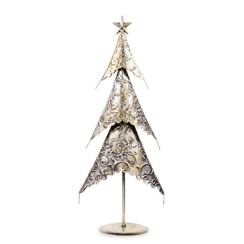 Silver/Gold Christmas Tree Decoration: Metal - 9 x 20 x 4.75 inches