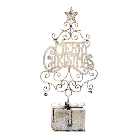 Metal Christmas Decorations: Merry Christmas - 10.25 x 21 x 4.25 inches
