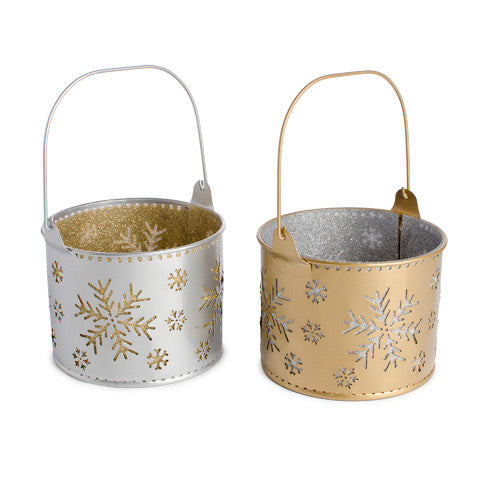Snowflake Planter: Tin - Silver/Gold - 4.5 x 3.5 inches