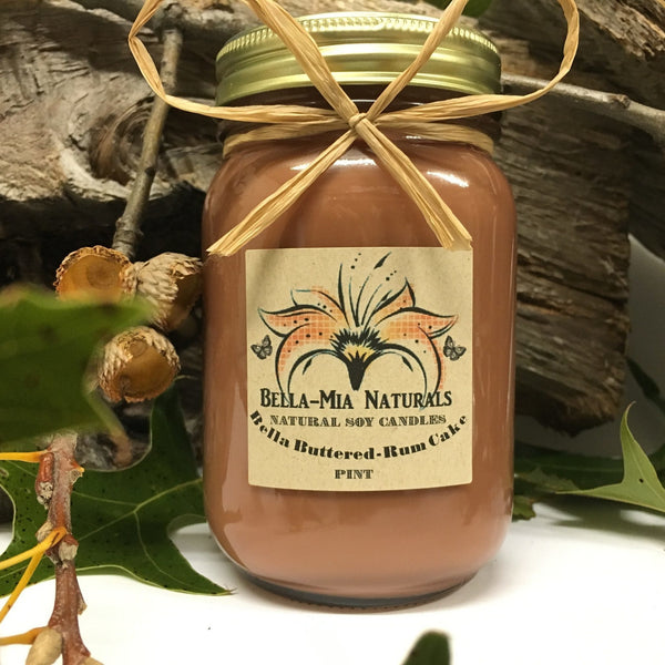 Buttered-Rum Cake Natural Hand Poured Soy Candles -  - Bella-Mia Naturals All Natural Soy Candles & Lip Balms - 1