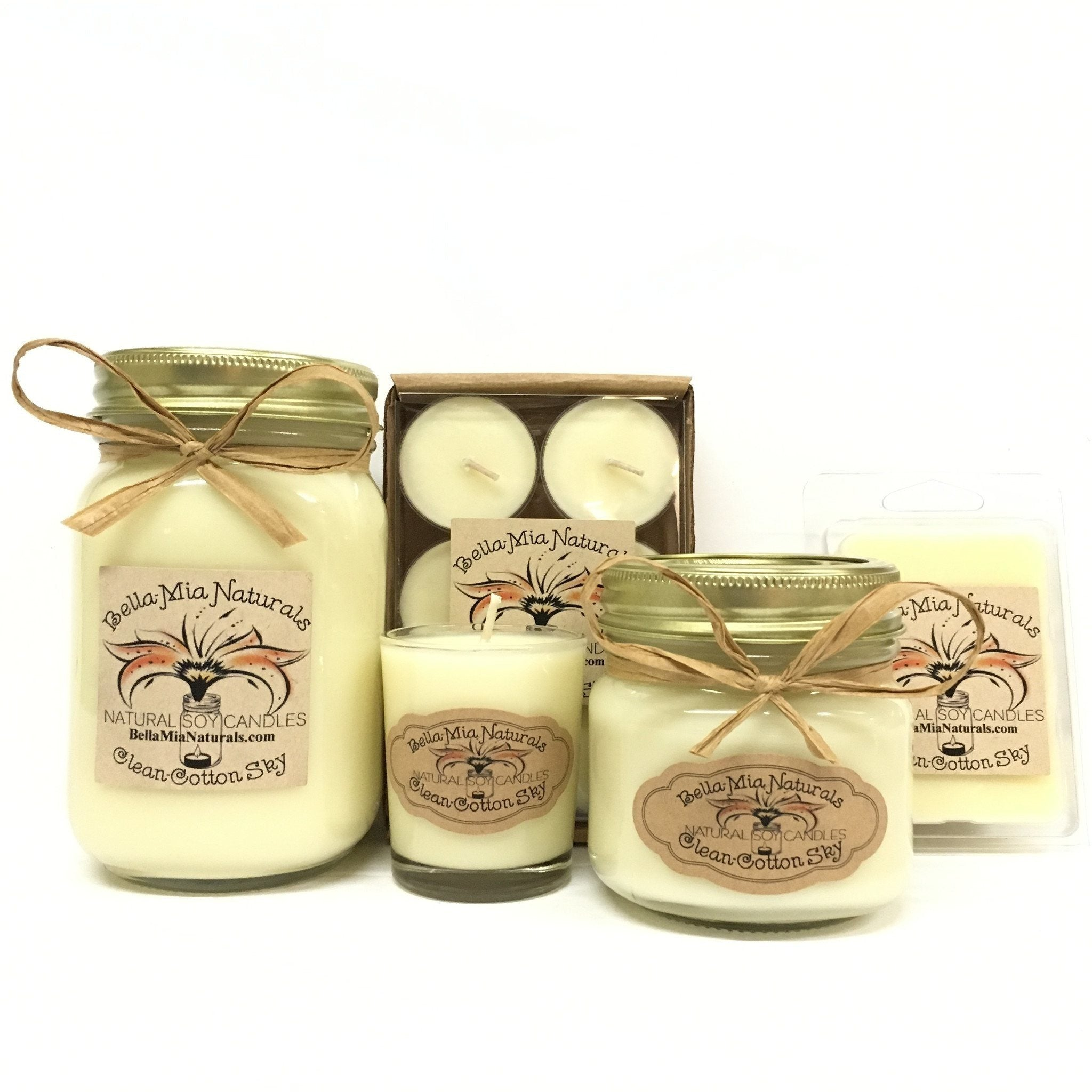 Clean Cotton-Sky Natural Hand Poured Soy Candles -  - Bella-Mia Naturals All Natural Soy Candles & Lip Balms - 1