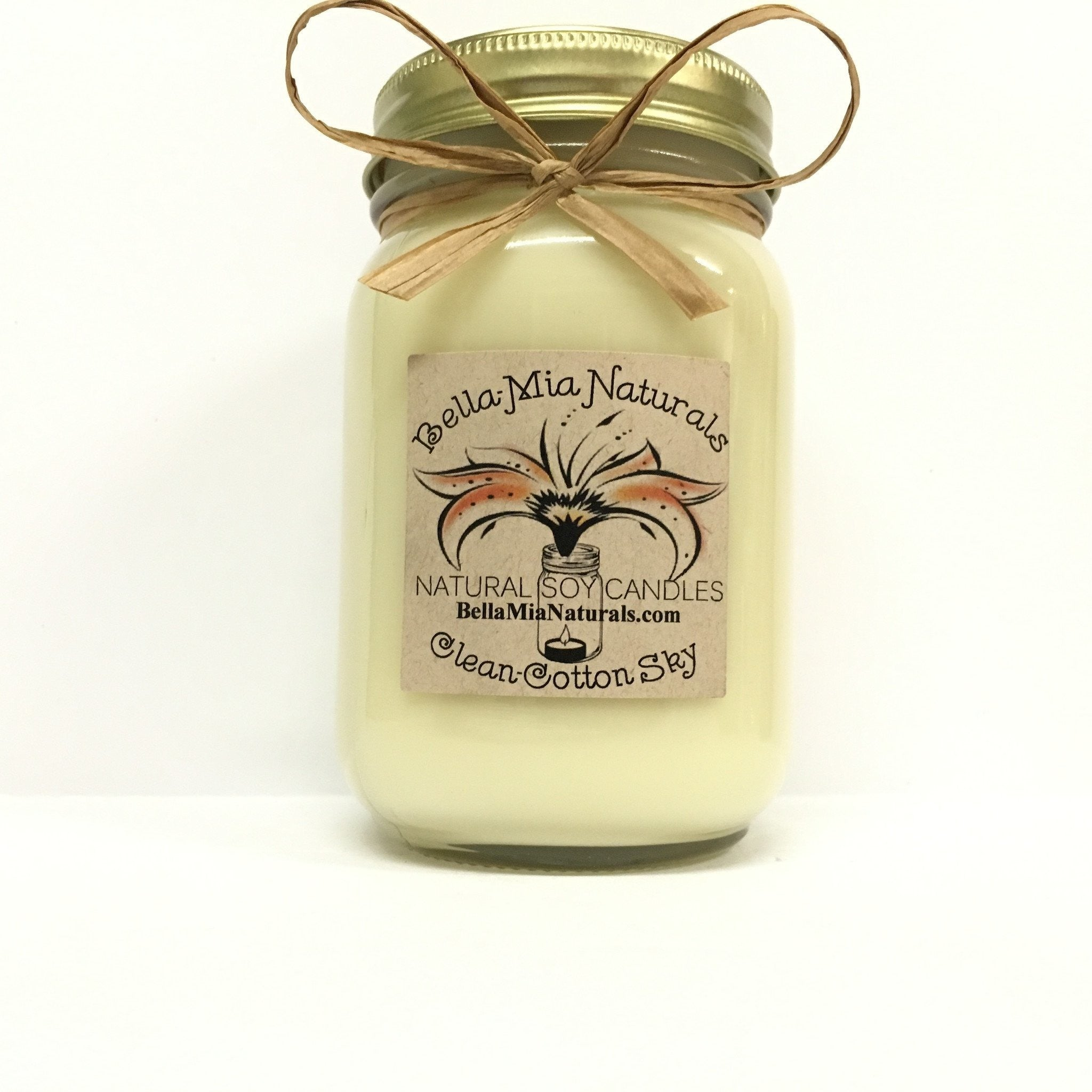 Clean Cotton-Sky Natural Hand Poured Soy Candles - Pint - Bella-Mia Naturals All Natural Soy Candles & Lip Balms - 2