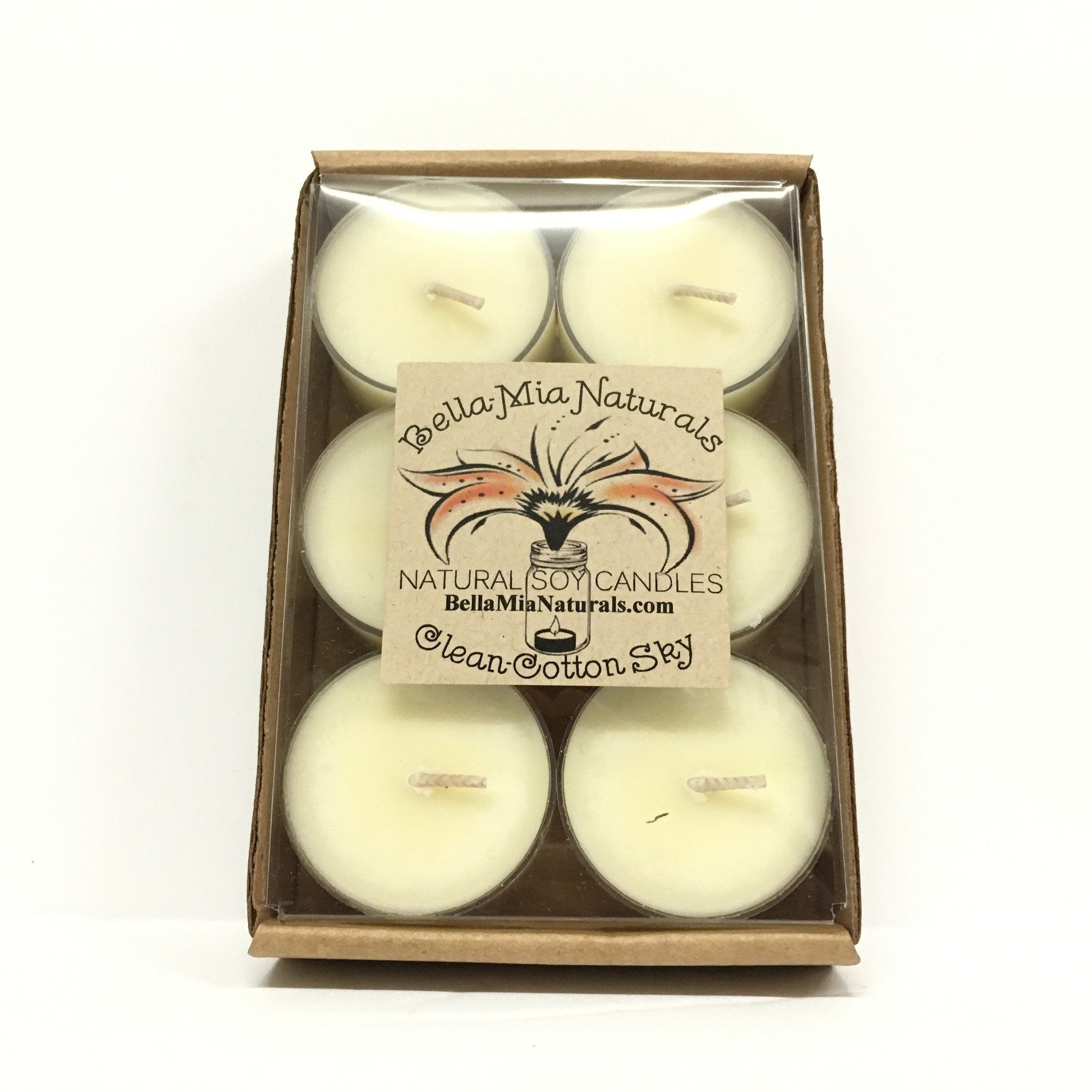 Clean Cotton-Sky Natural Hand Poured Soy Candles - Tealight-6 Pack - Bella-Mia Naturals All Natural Soy Candles & Lip Balms - 3