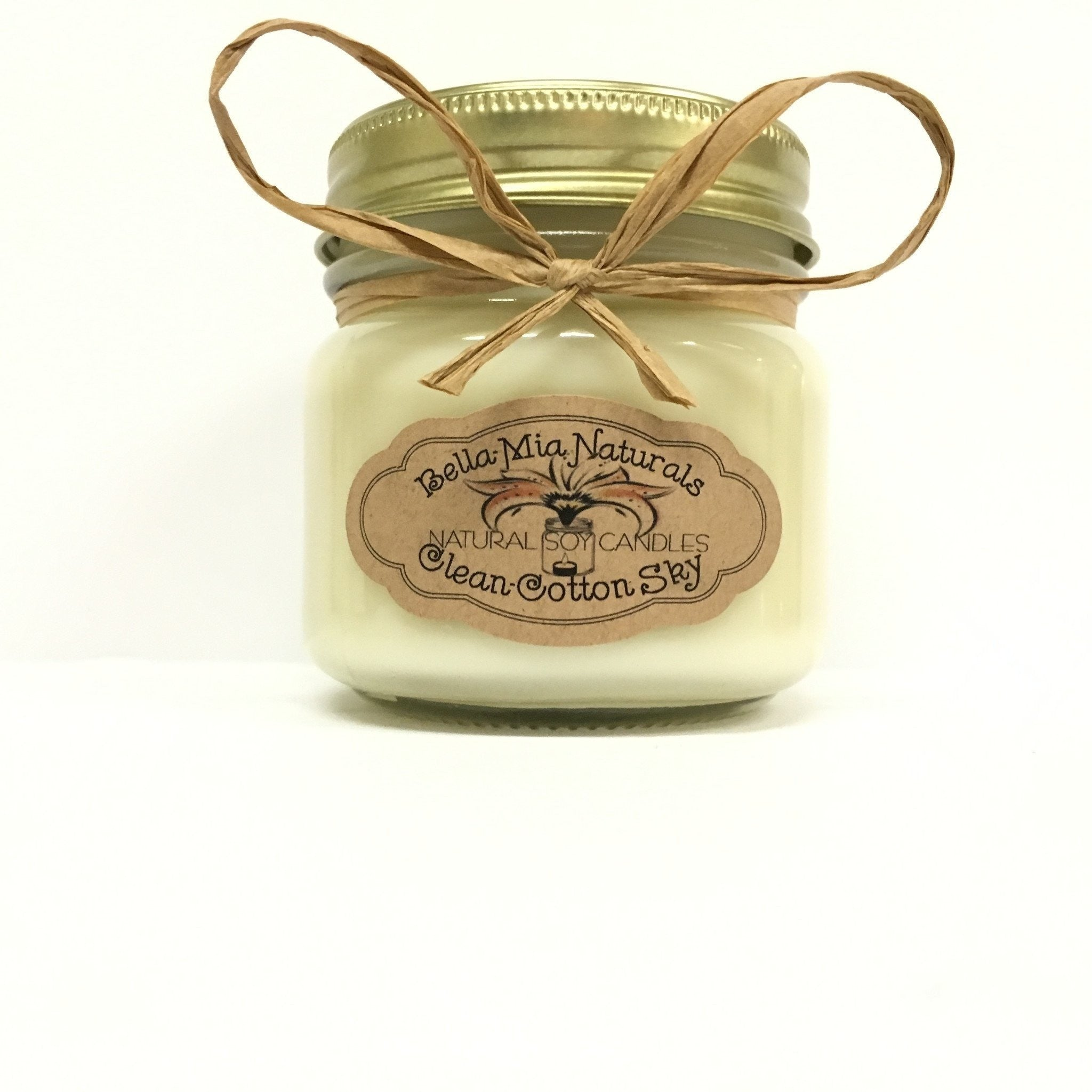 Clean Cotton-Sky Natural Hand Poured Soy Candles - Half-Pint - Bella-Mia Naturals All Natural Soy Candles & Lip Balms - 4