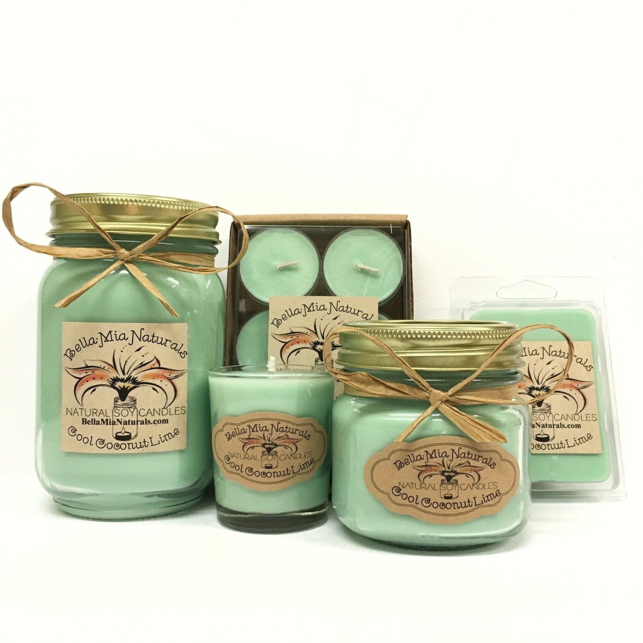 Cool Coconut-Lime Natural Hand Poured Soy Candles -  - Bella-Mia Naturals All Natural Soy Candles & Lip Balms - 1