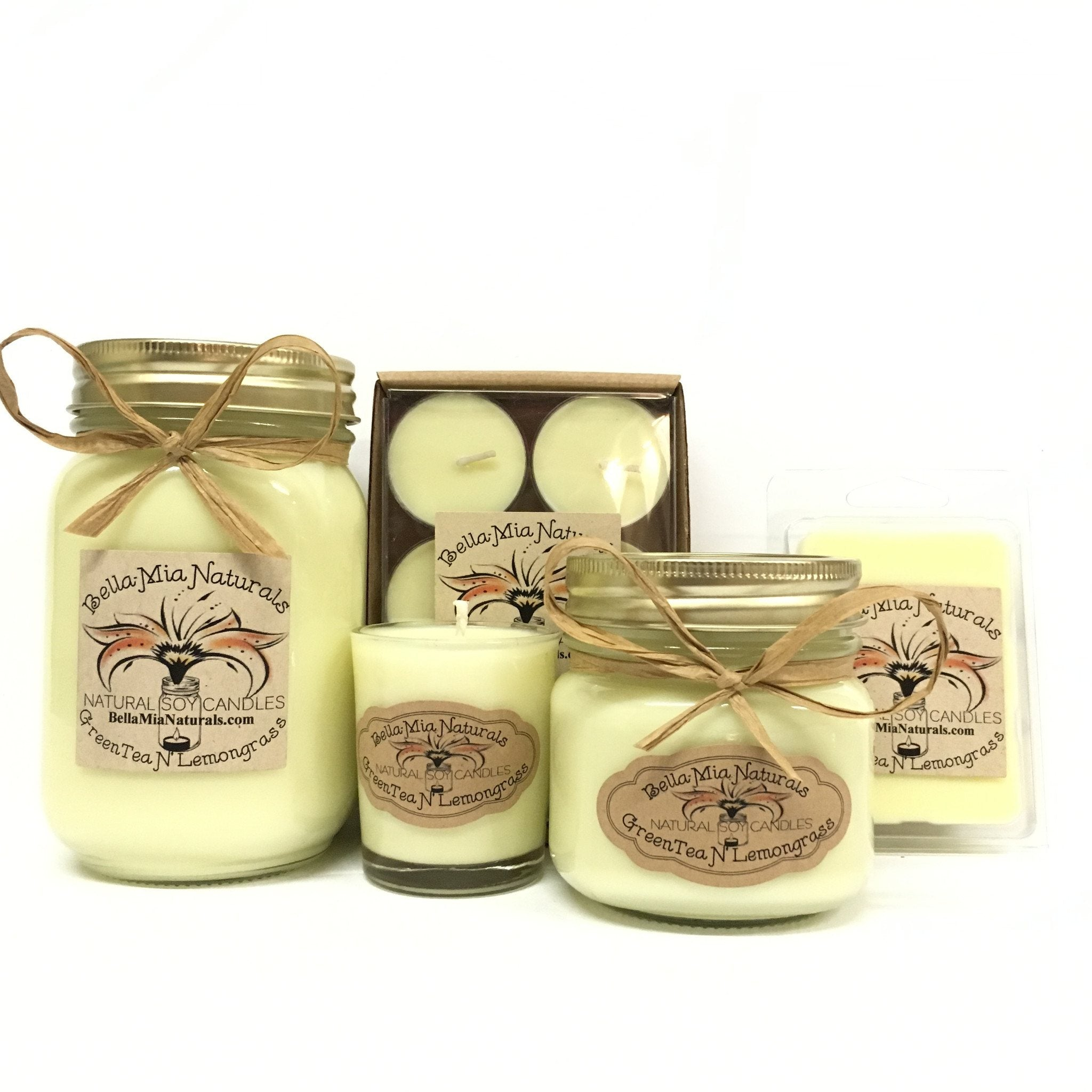 GreenTea N' Lemongrass Natural Hand Poured Soy Candles -  - Bella-Mia Naturals All Natural Soy Candles & Lip Balms - 1