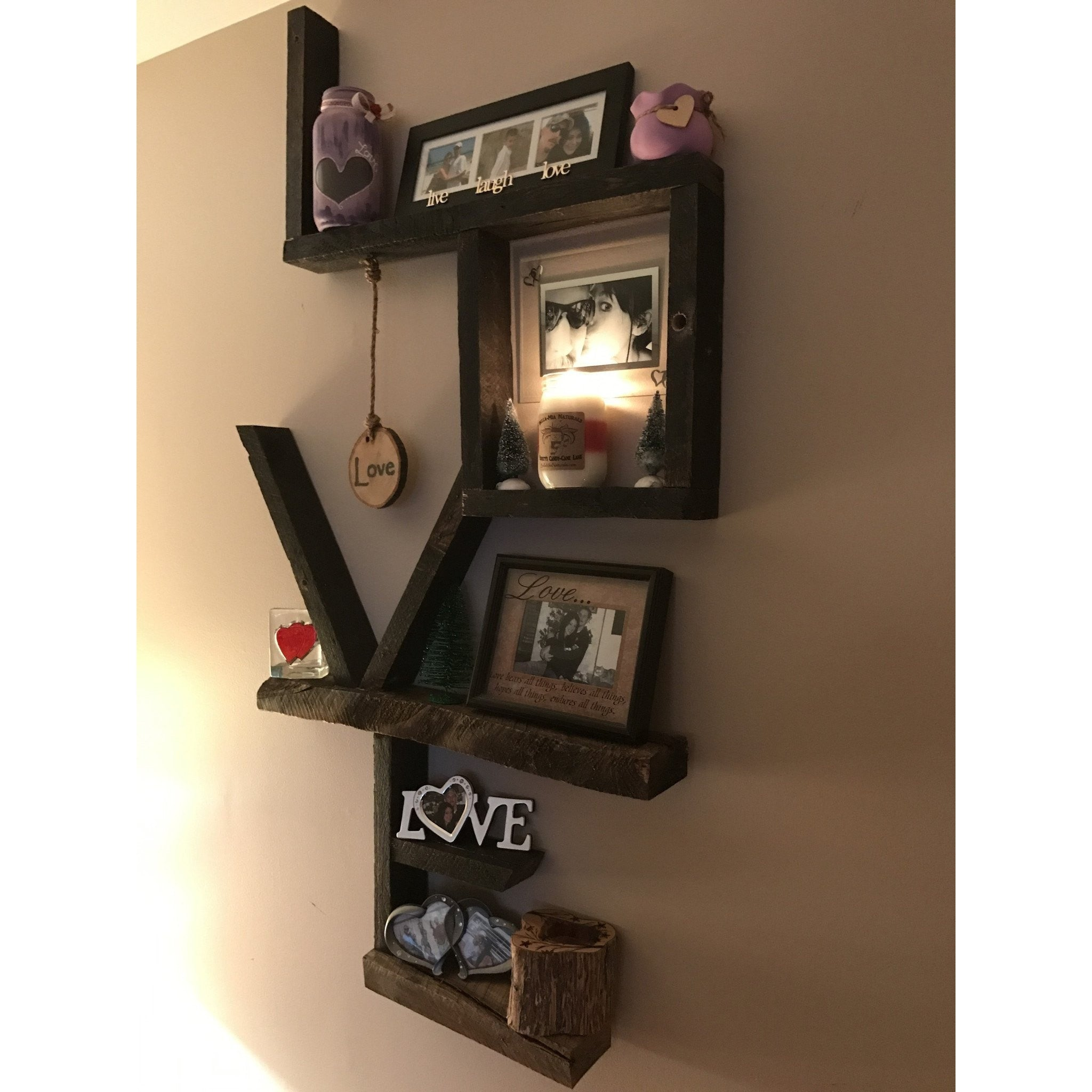 "Custom Reclaimed Wood ""LOVE"" Signs -  - Bella-Mia Naturals All Natural Soy Candles & Lip Balms - 6"