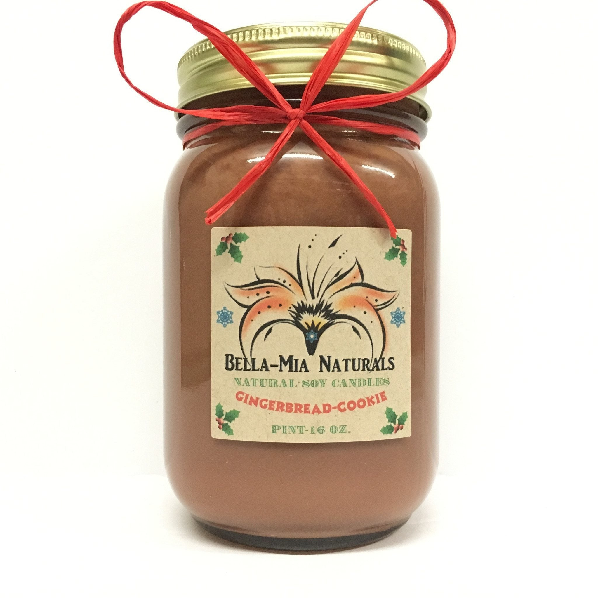 Gingerbread-Cookie Natural Hand Poured Soy Candles - Pint - Bella-Mia Naturals All Natural Soy Candles & Lip Balms - 2