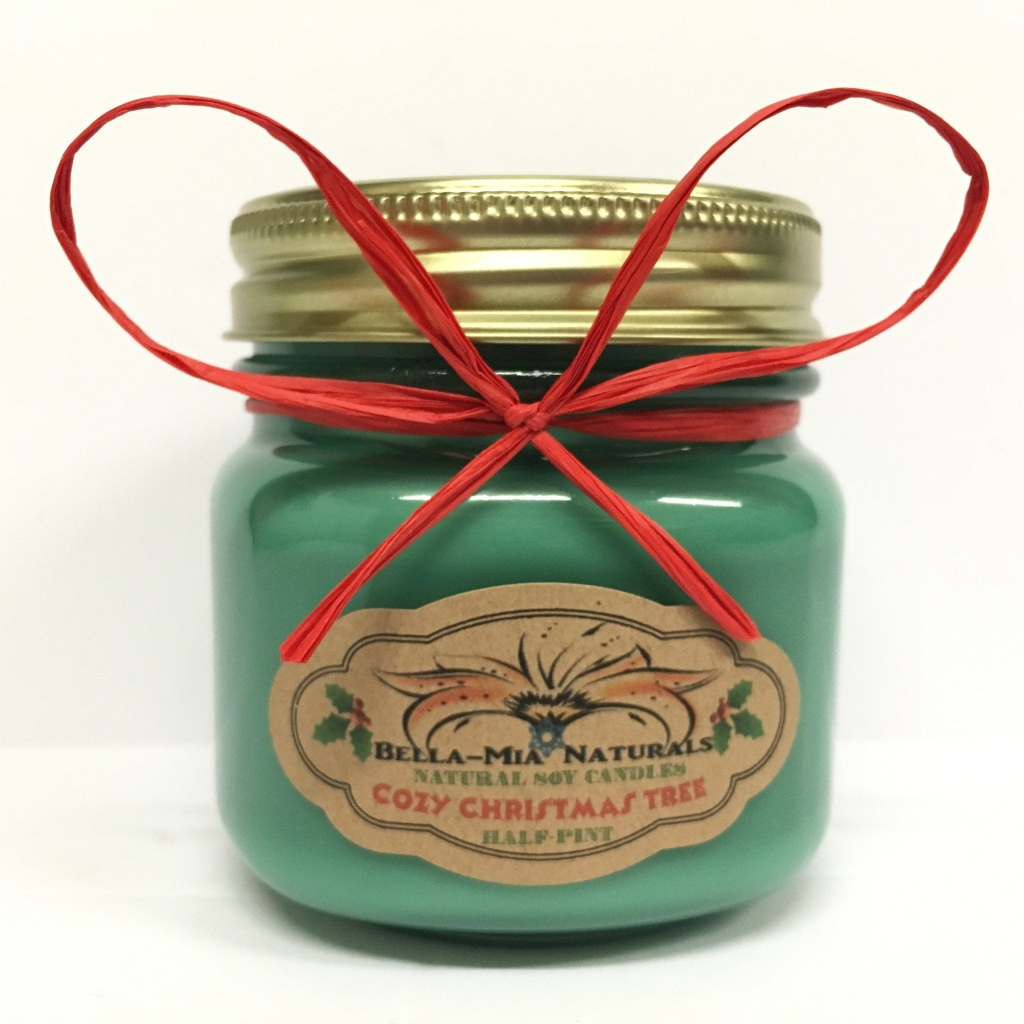 Cozy Christmas Tree Natural Hand Poured Soy Candles - Half-Pint - Bella-Mia Naturals All Natural Soy Candles & Lip Balms - 3