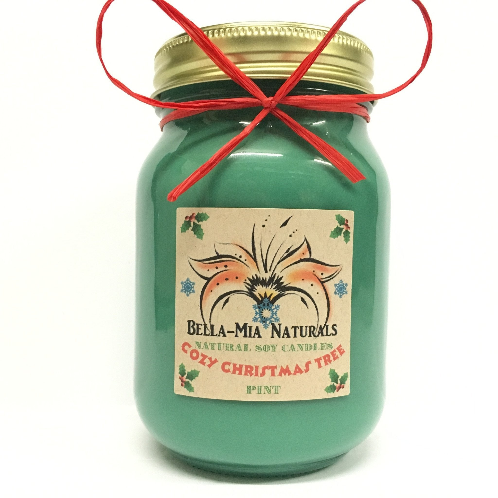 Cozy Christmas Tree Natural Hand Poured Soy Candles - Pint - Bella-Mia Naturals All Natural Soy Candles & Lip Balms - 2
