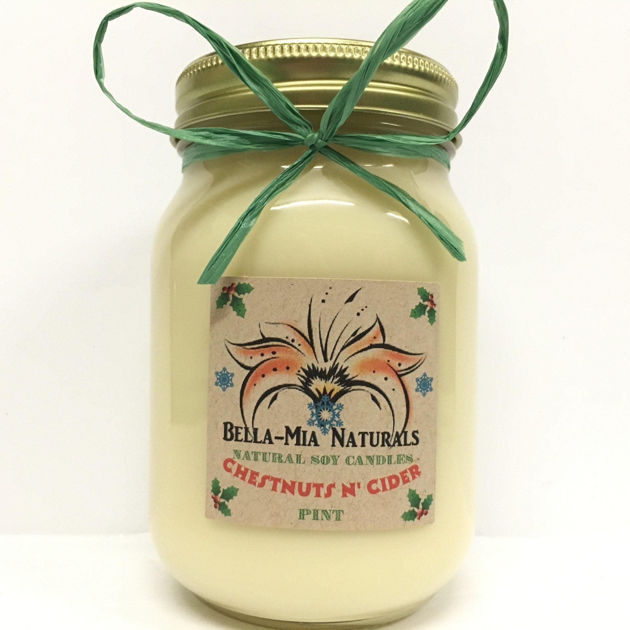 Chestnuts N' Cider Natural Hand Poured Soy Candles - Pint - Bella-Mia Naturals All Natural Soy Candles & Lip Balms - 2