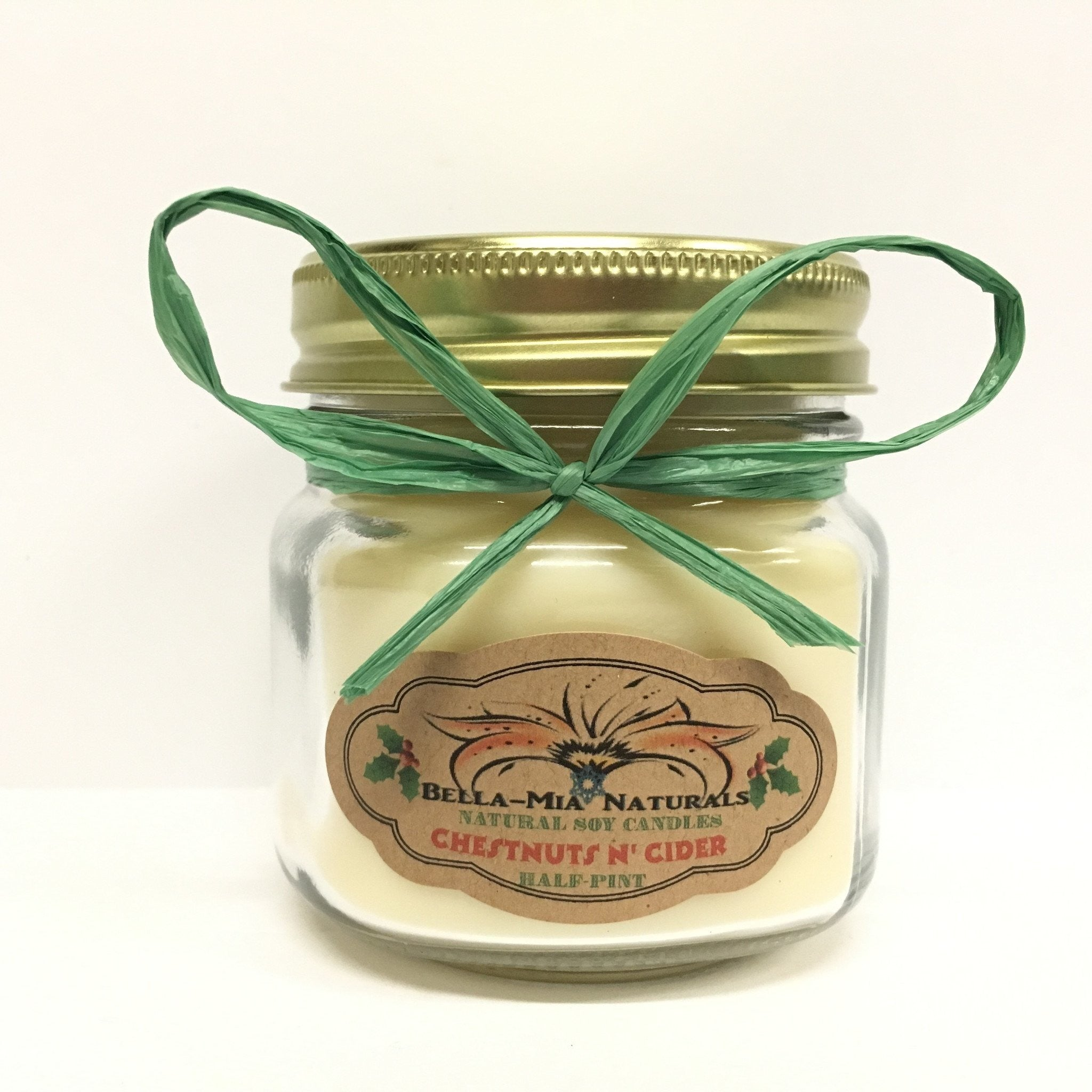 Chestnuts N' Cider Natural Hand Poured Soy Candles - Half-Pint - Bella-Mia Naturals All Natural Soy Candles & Lip Balms - 3