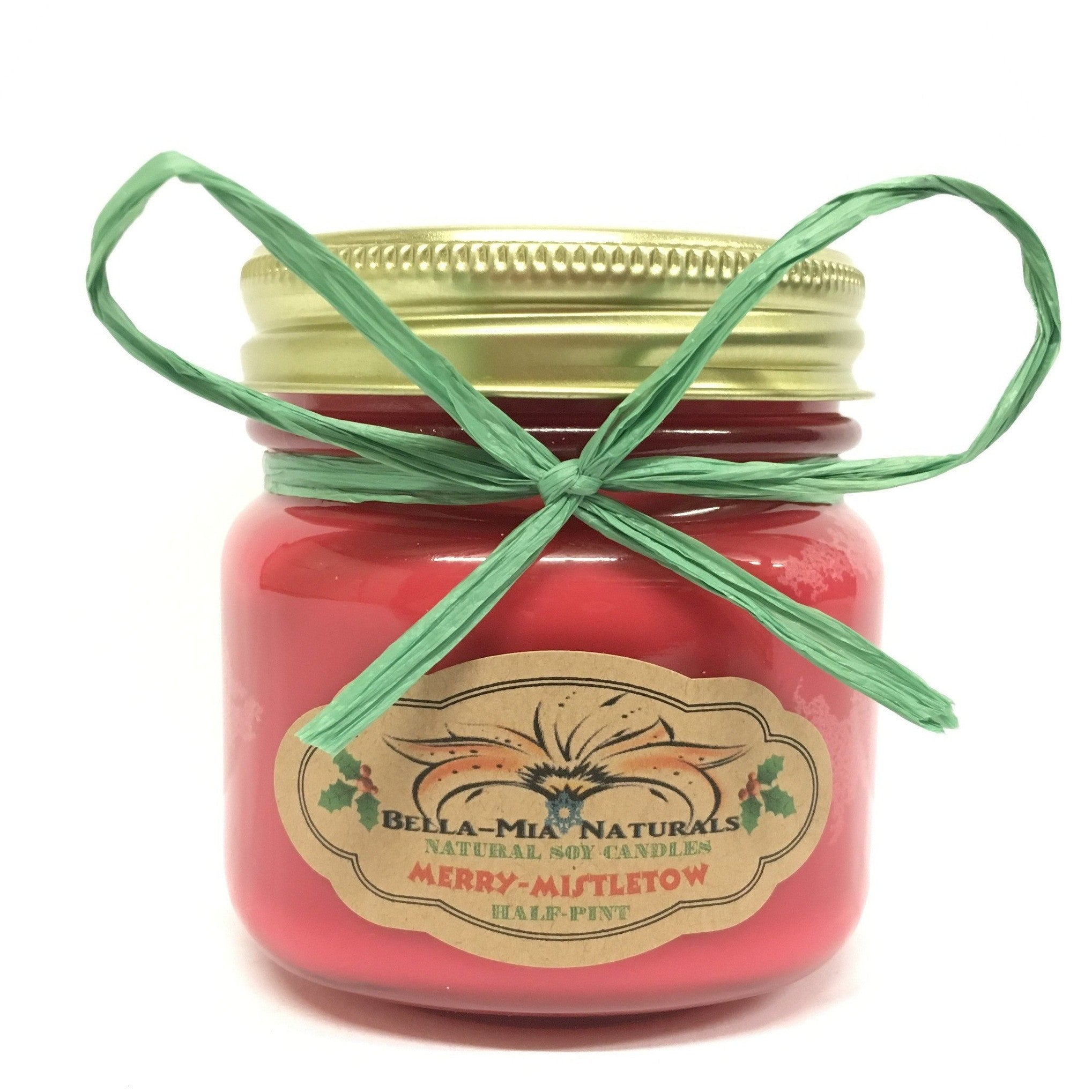 Merry-Mistletoe Natural Hand Poured Soy Candles - Half-Pint - Bella-Mia Naturals All Natural Soy Candles & Lip Balms - 3