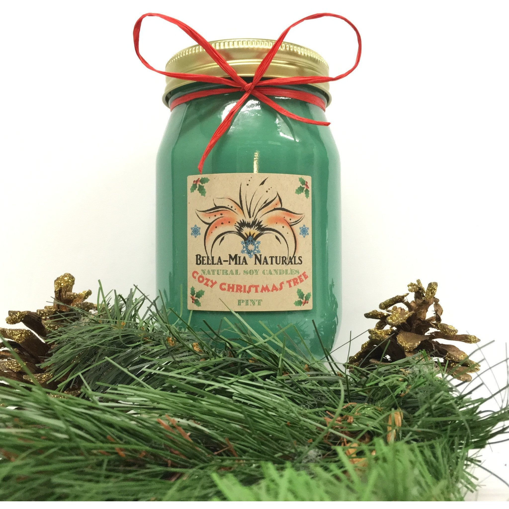Cozy Christmas Tree Natural Hand Poured Soy Candles -  - Bella-Mia Naturals All Natural Soy Candles & Lip Balms - 1