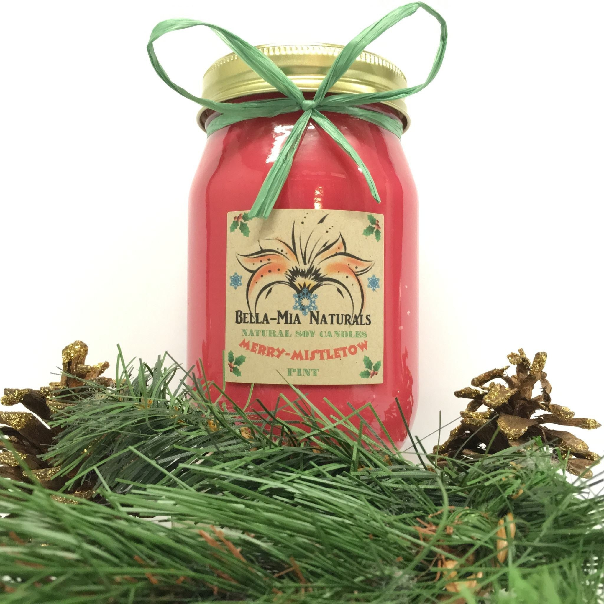 Merry-Mistletoe Natural Hand Poured Soy Candles -  - Bella-Mia Naturals All Natural Soy Candles & Lip Balms - 1