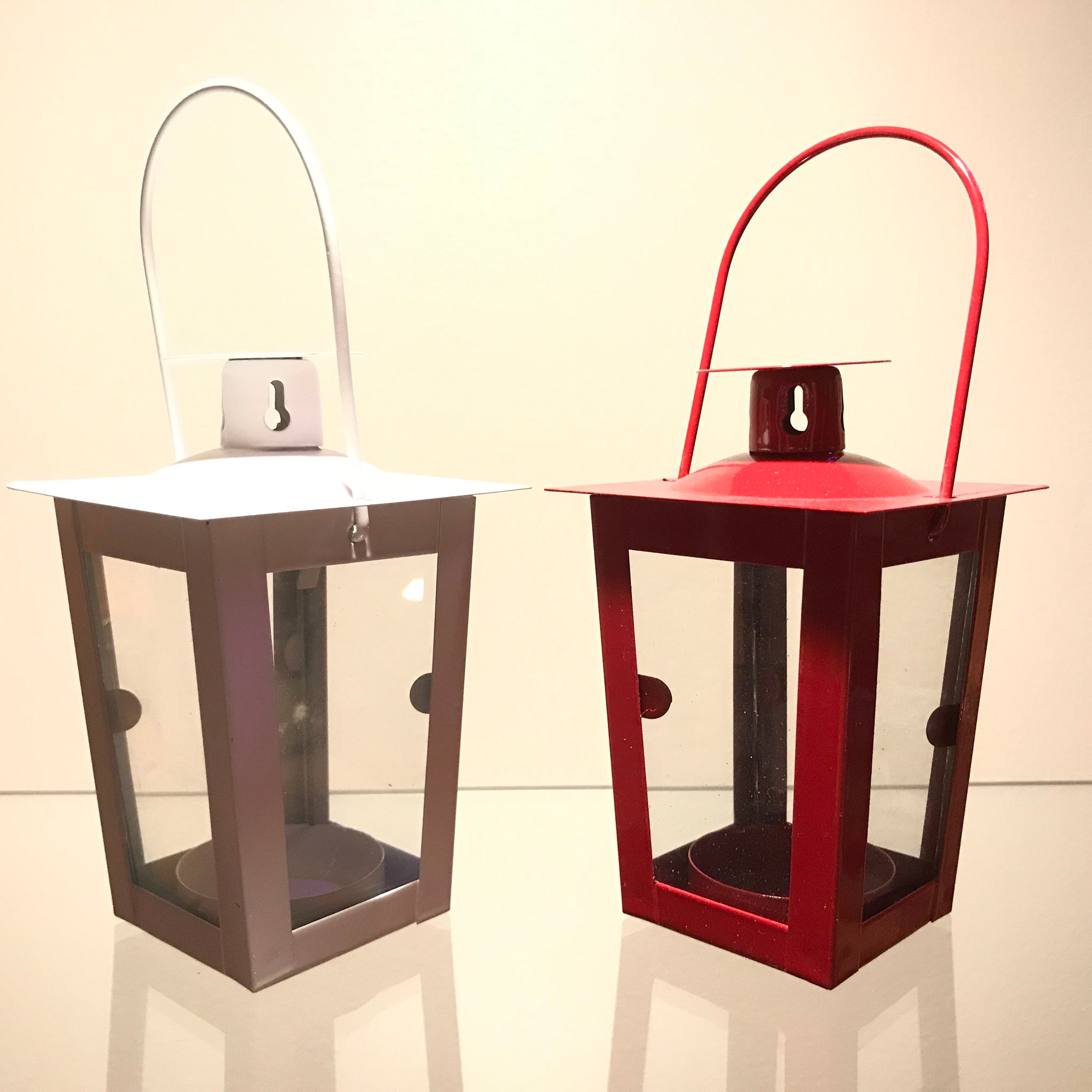 White or Red LED/Tealight Hanging Lantern Small