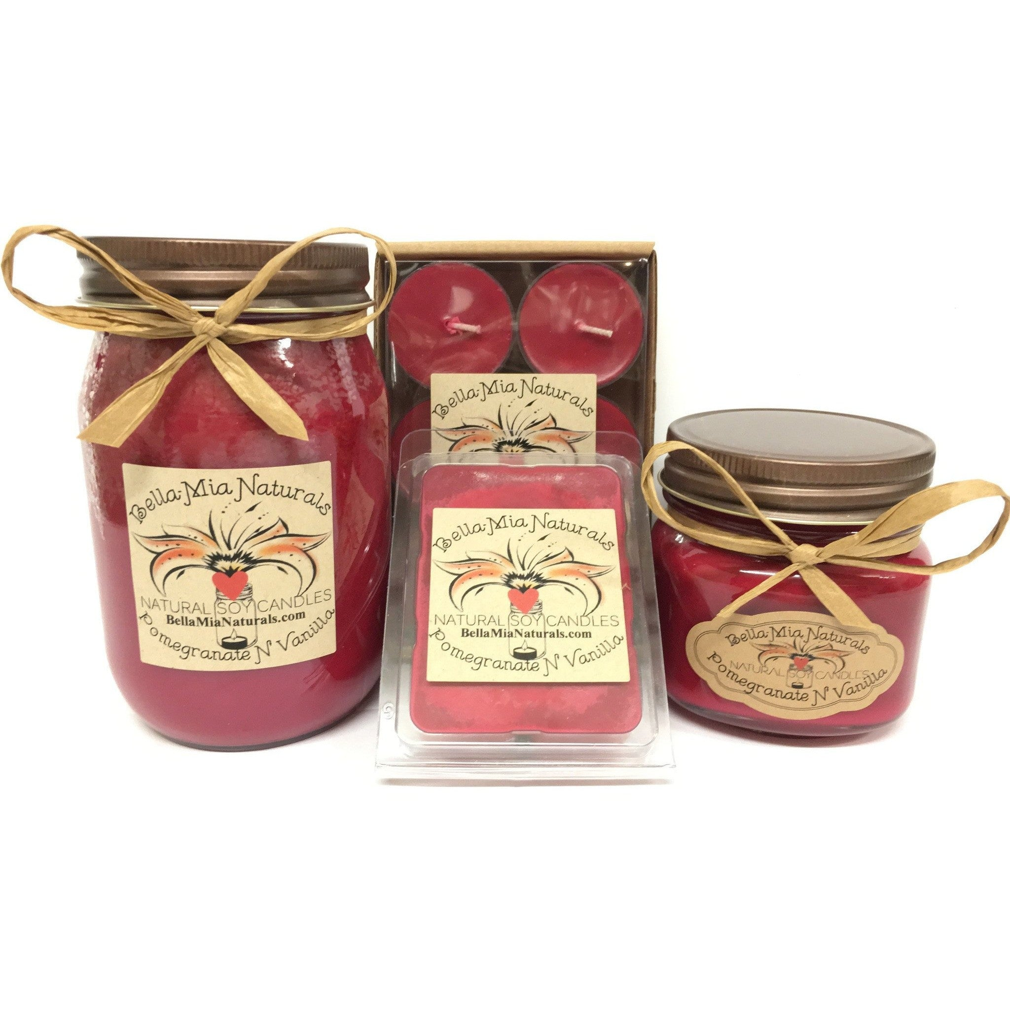 Pomegranate N' Vanilla Natural Hand Poured Soy Candles -  - Bella-Mia Naturals All Natural Soy Candles & Lip Balms - 1