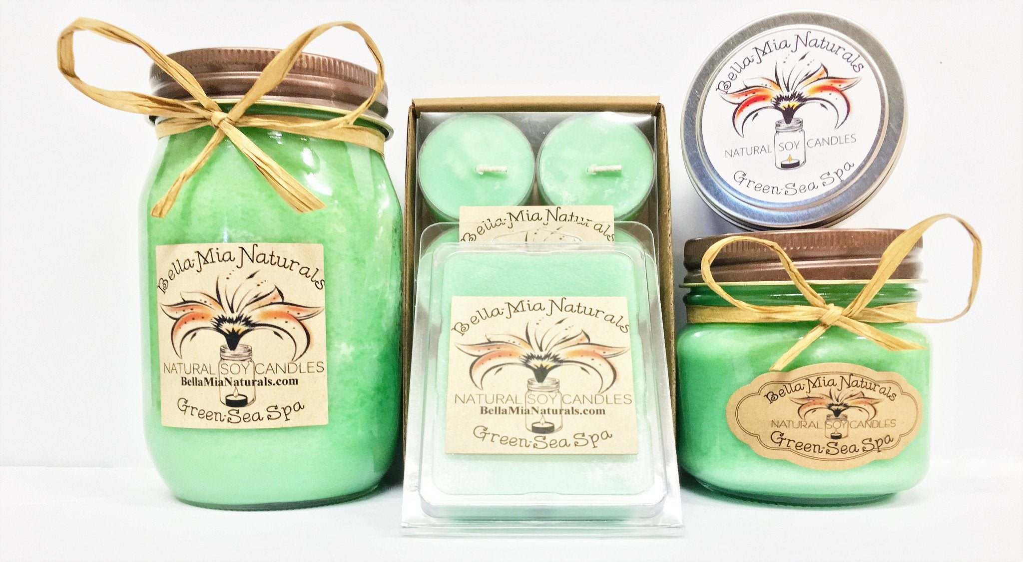 Green-Sea Spa Natural Hand Poured Soy Candles -  - Bella-Mia Naturals All Natural Soy Candles & Lip Balms - 1