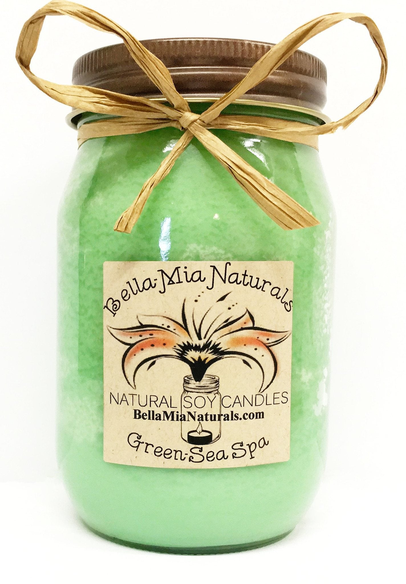 Green-Sea Spa Natural Hand Poured Soy Candles - Pint - Bella-Mia Naturals All Natural Soy Candles & Lip Balms - 2