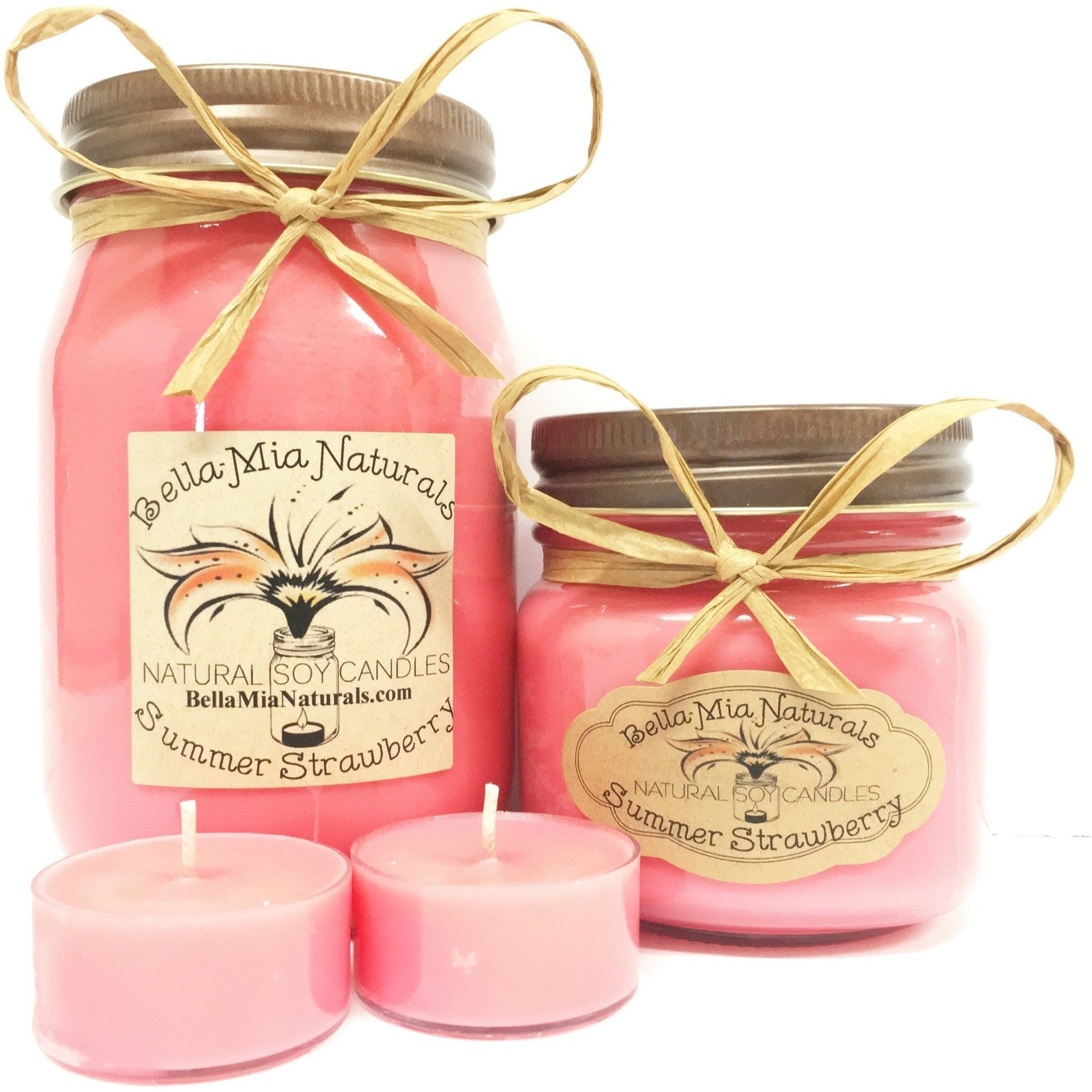 Summer Strawberry Natural Hand Poured Soy Candles -  - Bella-Mia Naturals All Natural Soy Candles & Lip Balms - 1