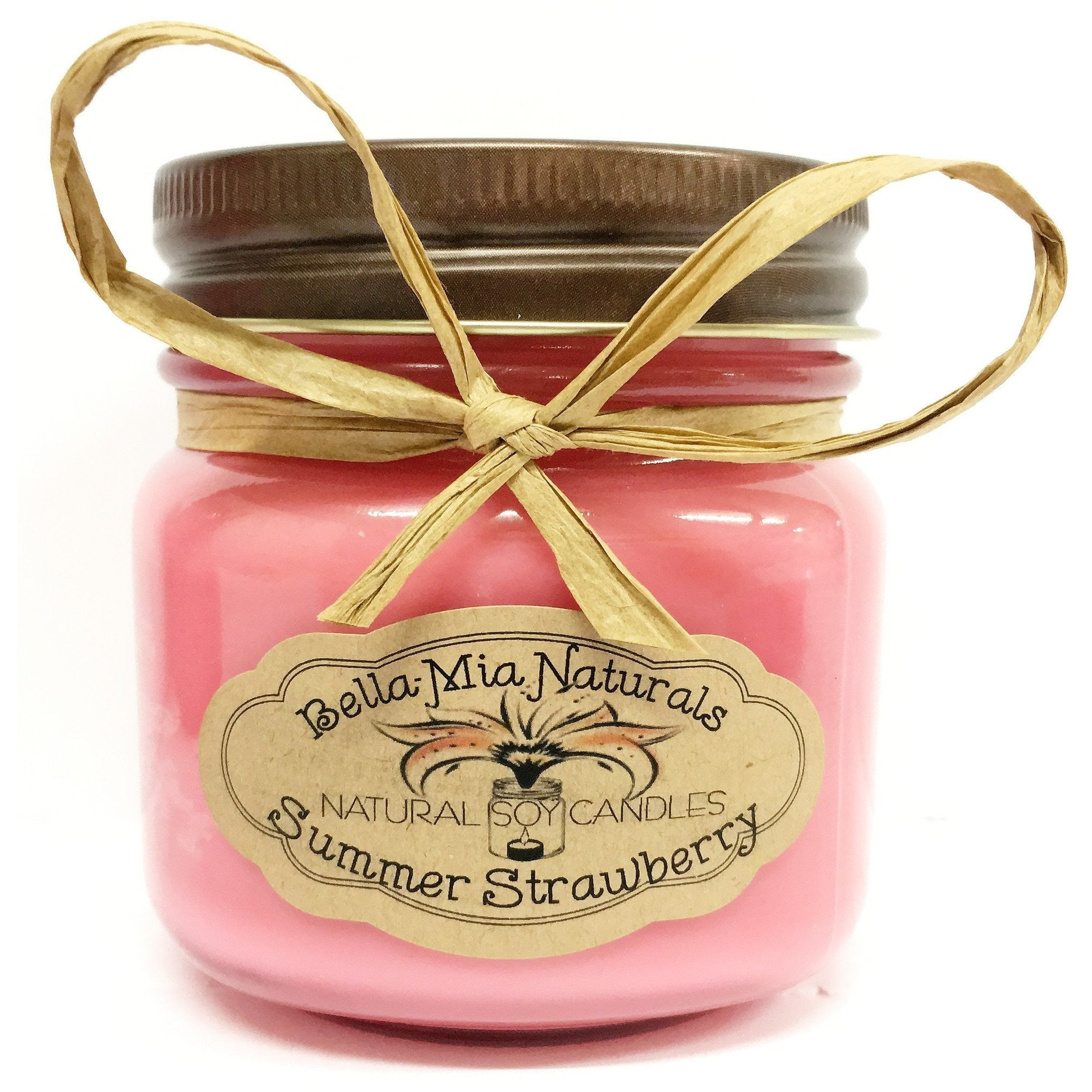 Summer Strawberry Natural Hand Poured Soy Candles - Half-Pint - Bella-Mia Naturals All Natural Soy Candles & Lip Balms - 3