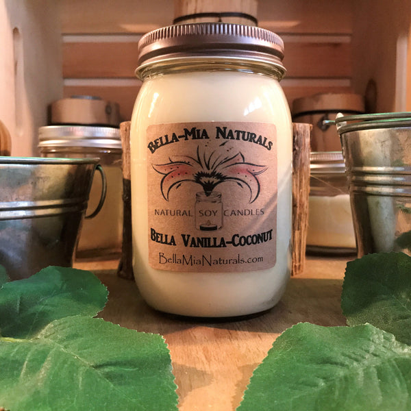 Bella Vanilla-Coconut Natural Hand Poured Soy Candles