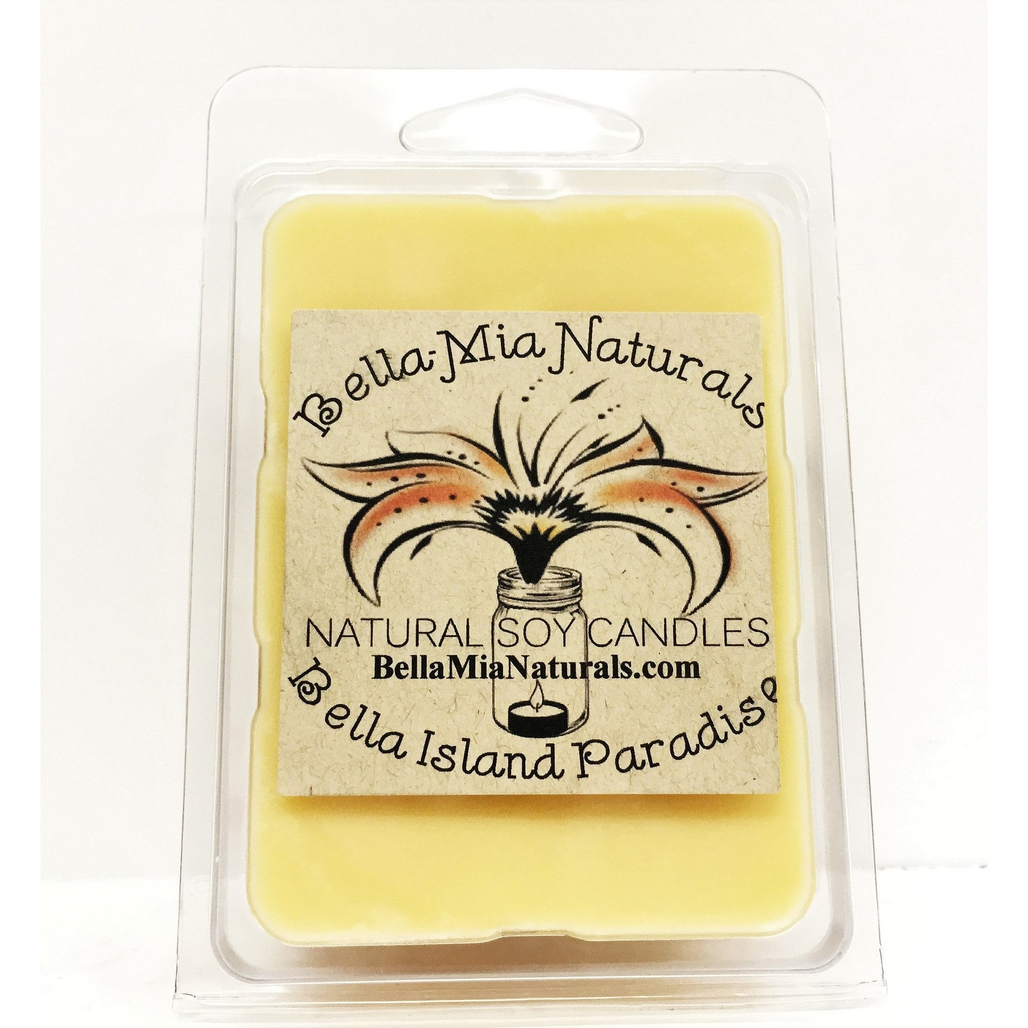 Bella Island Paradise Natural Hand Poured Soy Candles - Melt-6 Pack - Bella-Mia Naturals All Natural Soy Candles & Lip Balms - 5