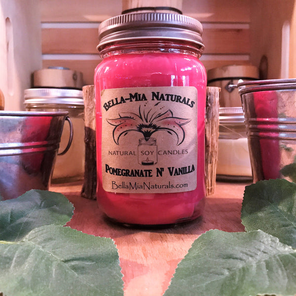 Pomegranate N' Vanilla Natural Hand Poured Soy Candles